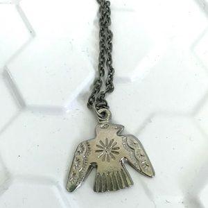 Vintage southwestern thunderbird charm necklace
